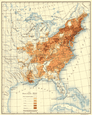 USA: Population distribution East of the 100th Meridian: 1830, 1900 map